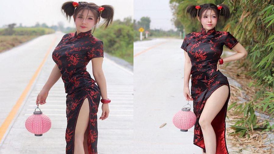 新年將至,泰國網紅Mika應景穿上旗袍,真的好養眼!