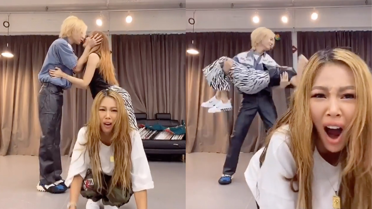 泫雅、金曉鐘和Jessi一起進行《NUNU NANA》舞蹈跳戰,兩人還放閃!Jessi表情超好笑:「當你是電燈泡時」