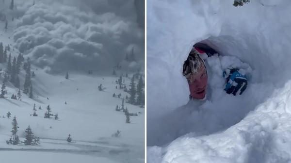 海嘯式雪崩!15秒驚悚片滑雪男「驚恐跑給雪追」 下刻被活埋19公尺