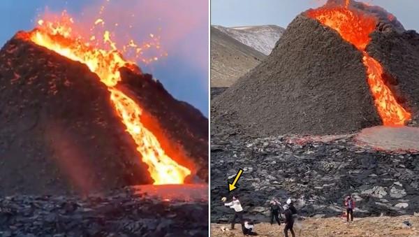 屁孩登火山打排球!淡定傳接球「背後岩漿狂噴」 網笑:這才是真戰鬥民族
