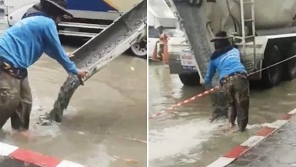 工人不顧淹水照鋪馬路!市民怒轟根本不會乾 水退後眾人驚覺誤會他了