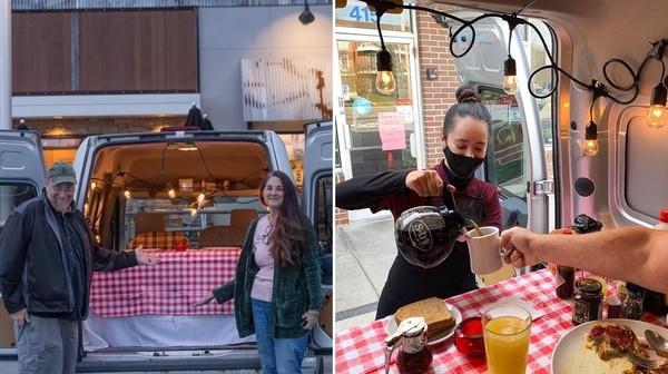 疫情擾餐廳給不用餐!美夫婦打造「移動內用餐車」 美到服務生主動送菜