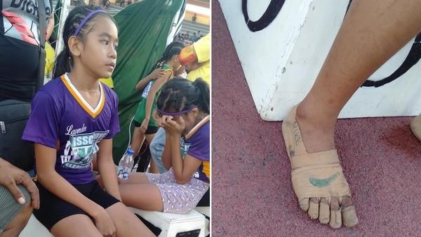 裸足跑田徑!11歲女「膠布畫藍勾勾」忍痛奪3金 逼哭球鞋商贊助她