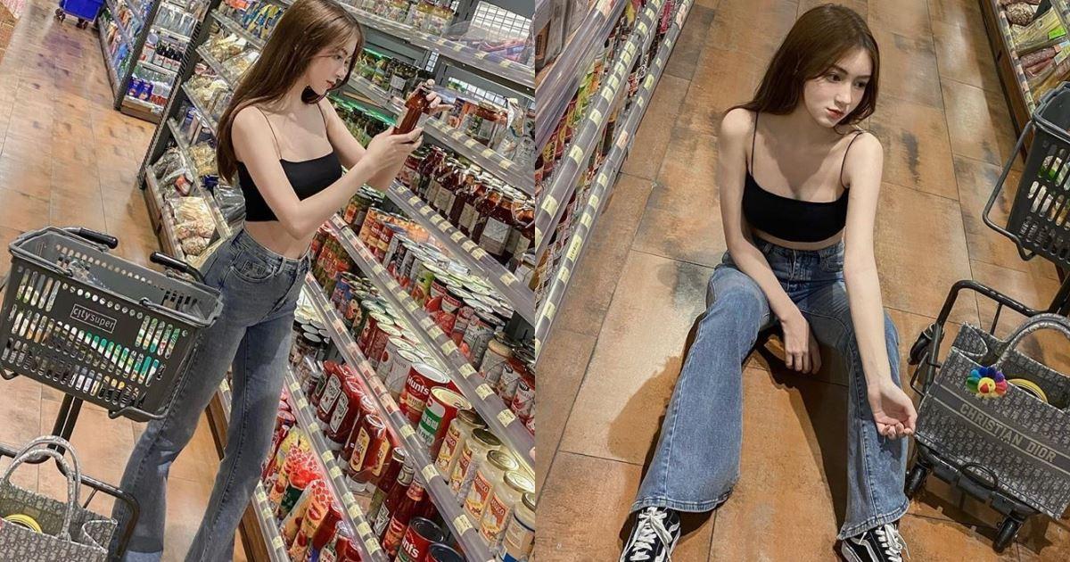 正妹席地而坐!「背心蠻腰妹」超市逛累休息一下,真實身材有夠狂暴!