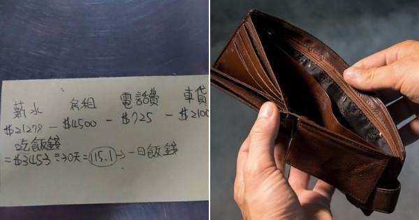 薪水2萬多! 每天「餐費100元」仍是月光族  支出明細引網心疼:這樣的人不多了