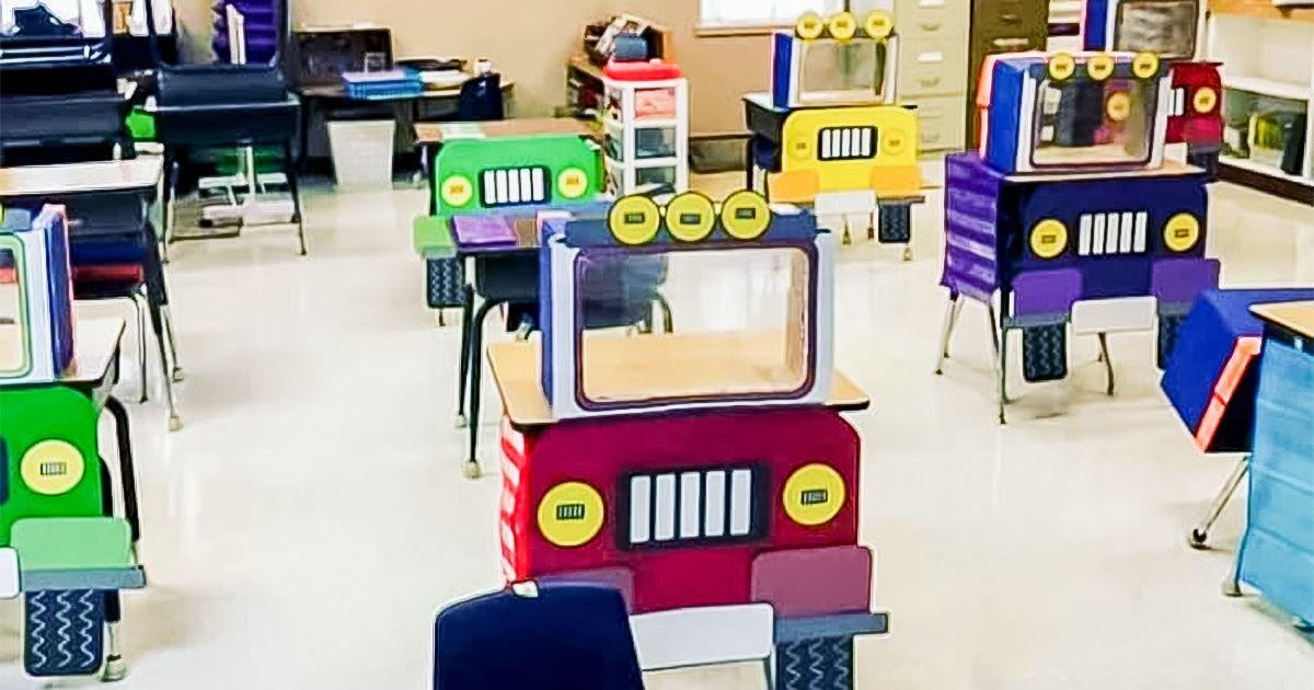 上課像在賽車! 幼稚園師自製「車車隔離板」 課桌椅變身可愛卡通車!