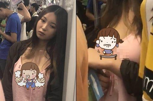 妹子搭地鐵「真空」!男乘客心搶拍惹議