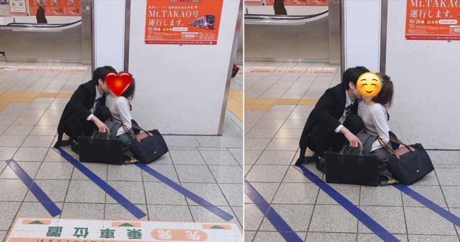太忘我!日本情侶月台上享受美好時光...白嫩妹子表情紅了!網興奮狂放大:這表情專業