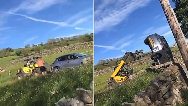 汽車擋住出入口不肯移! 農民爆氣開曳引機「把車鏟起翻一圈倒地」