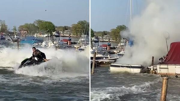 漁船冒煙起火! 消防員路過「騎水上摩托車滅火」:消防魂沒在放假的啦