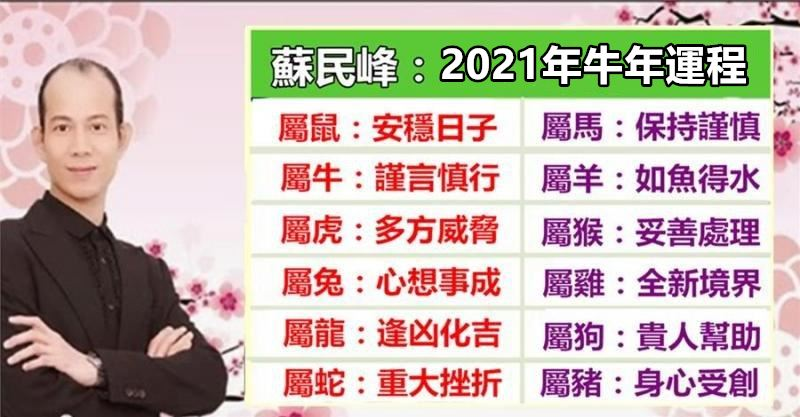 蘇民峰:2021年十二生肖運程