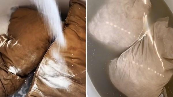 老公5年不洗白枕頭!人妻拿去泡水「暈開一片油黃」嚇壞 狂倒洗衣精+芳香劑