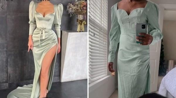 花900買緞面高衩洋裝「穿上身秒變床單」 網購慘劇被7百萬網笑爛