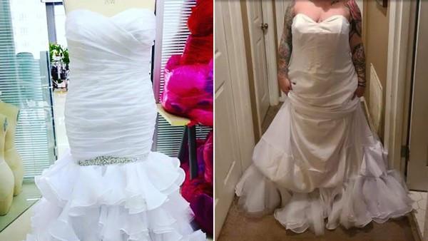 網拍仙氣魚尾婚紗穿上變「白色垃圾袋」!店家接客訴傻眼:妳穿反了