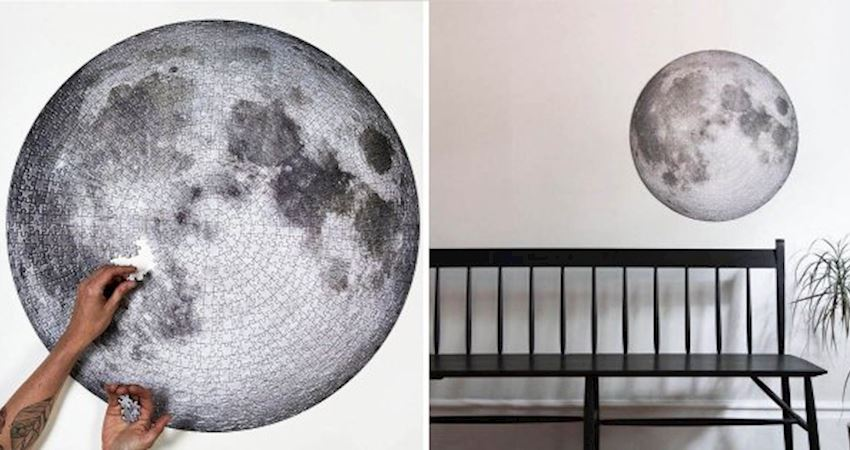 牆上了掛一顆月球! 拼到手軟「The Moon」月球拼圖 高畫質「NASA月球照」成品美翻