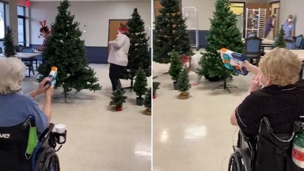 養老院聖誕趴辦「獵鹿大賽」!員工戴上角奔跑 讓長輩坐輪椅狂射
