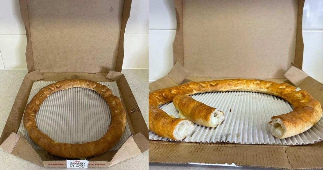 ▲▼必勝客為慶祝「芝心餅皮」上市25週年,推出限定商品「無料芝心餅皮」。(圖/翻攝自Instagram/@snackfeeds)