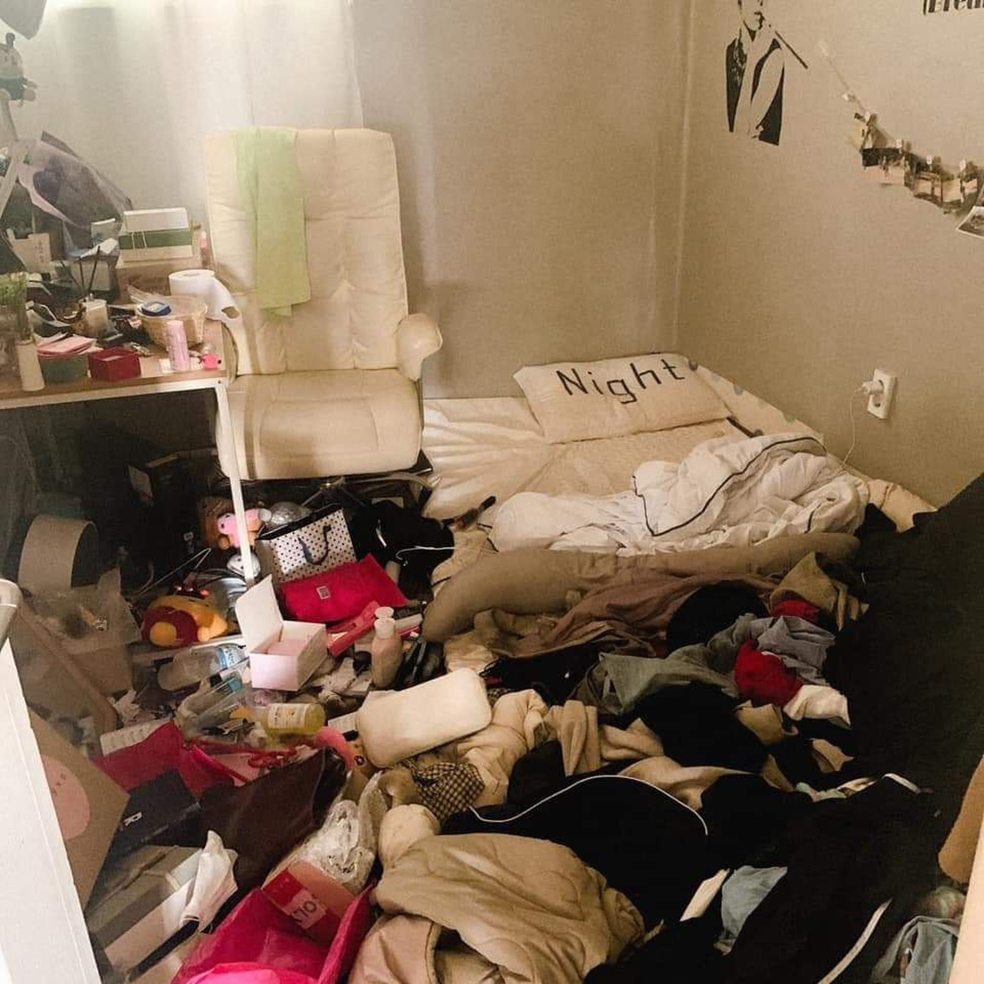 ▲▼骯髒房間(圖/翻攝自Facebook/대학생 너구리)